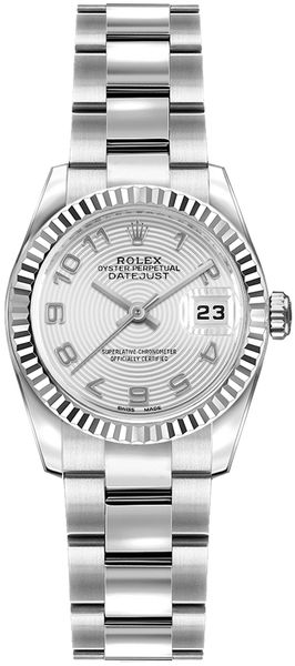 Rolex Lady-Datejust 26 Silver Concentric Dial Women's Watch 179174
