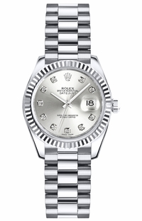 Rolex Lady-Datejust 26 Silver Diamond Dial Watch 179179