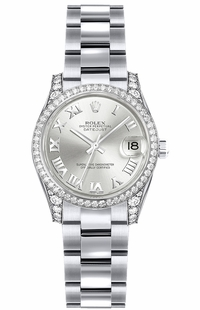 Rolex Lady-Datejust 26 Silver Roman Numeral Dial Gold Watch 179159
