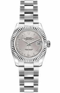 Rolex Lady-Datejust 26 Silver Roman Numeral Oyster Bracelet Watch 179174