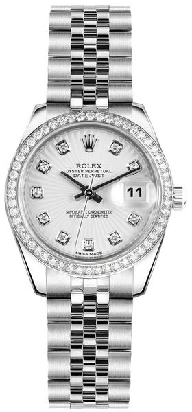 Rolex Lady-Datejust 26 Silver Sunburst Dial Women's Watch 179384
