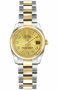Rolex Lady-Datejust 26 Solid 18K Yellow Gold Domed Bezel Watch 179163