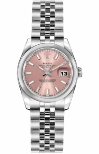 Rolex Lady-Datejust 26 Stainless Steel Pink Dial Watch 179160