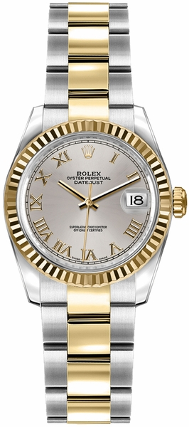 Rolex Lady-Datejust 26 Silver Roman Numeral Dial Watch 179173