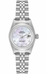 Rolex Lady-Datejust 26 White Mother of Pearl Dial Women's Watch 79174