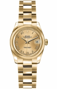 Rolex Lady-Datejust 26 Yellow Gold Women's Watch 179168