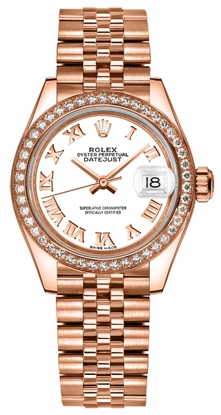 Rolex Lady-Datejust 28 White Dial Rose Gold Watch 279135RBR