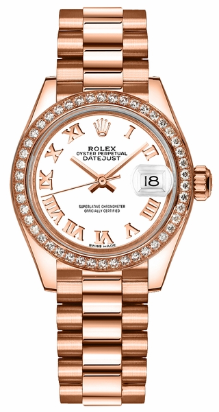 Rolex Lady-Datejust 28 White Roman Numeral Gold Watch 279135RBR
