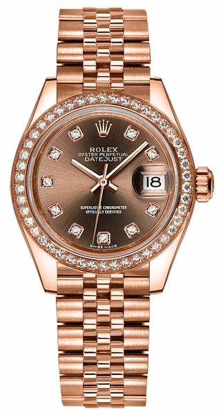 Rolex Lady-Datejust 28 Jubilee Gold Diamond Watch 279135RBR