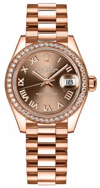 Rolex Lady-Datejust 28 Women's Solid Rose Gold Watch 279135RBR