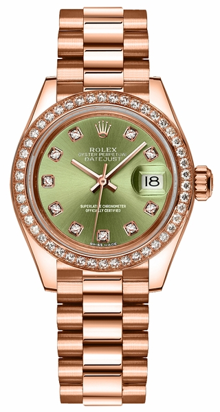 Rolex Lady-Datejust 28 Green Diamond Dial Gold Watch 279135RBR
