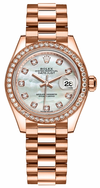 Rolex Lady-Datejust 28 Mother of Pearl Diamond Gold Watch 279135RBR