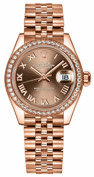 Rolex Lady-Datejust 28 Roman Numeral Dial Gold Watch 279135RBR