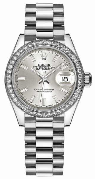 Rolex Lady-Datejust 28 Silver Dial Platinum Watch 279136RBR