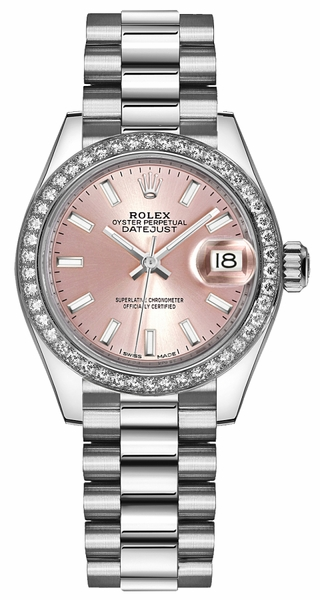 Rolex Lady-Datejust 28 Pink Dial Platinum Watch 279136RBR