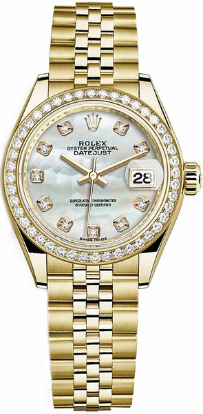 Rolex Lady-Datejust 28 Mother of Pearl Diamond Gold Watch 279138RBR
