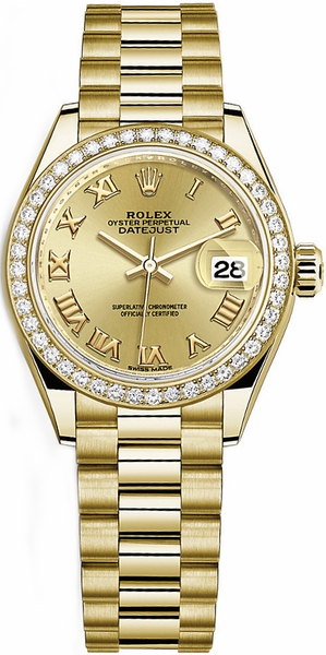 Rolex Lady-Datejust 28 Solid Yellow Gold Watch 279138RBR