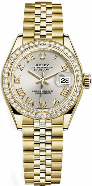 Rolex Lady-Datejust 28 Silver Roman Numeral Gold Watch 279138RBR
