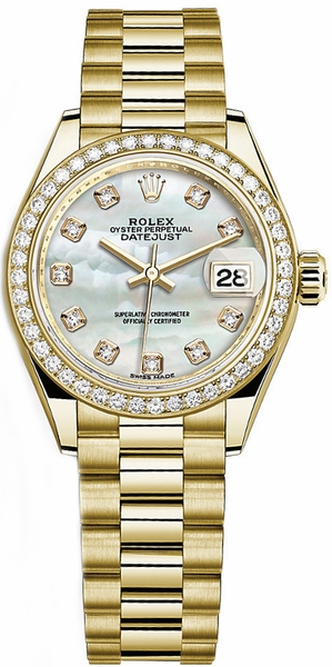 Rolex Lady-Datejust 28 Mother of Pearl Diamond Yellow Gold Watch 279138RBR