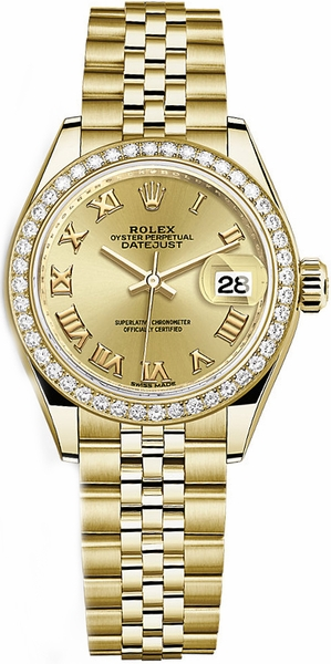Rolex Lady-Datejust 28 Yellow Gold Roman Numeral Dial Watch 279138RBR