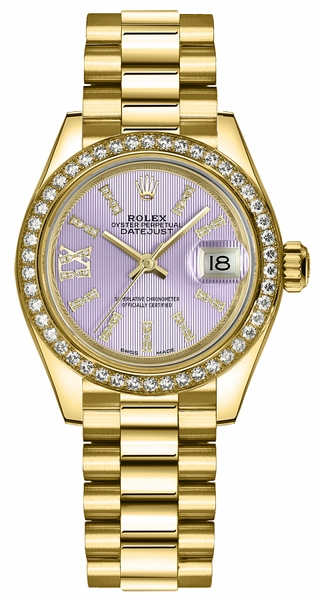 Rolex Lady-Datejust 28 Lilac Dial Women's Watch 279138RBR