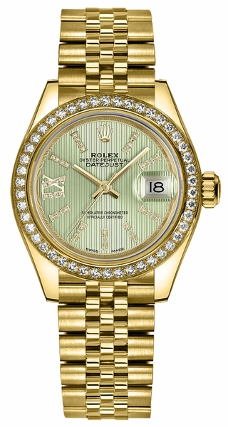 Rolex Lady-Datejust 28 Green Diamond Dial Watch 279138RBR