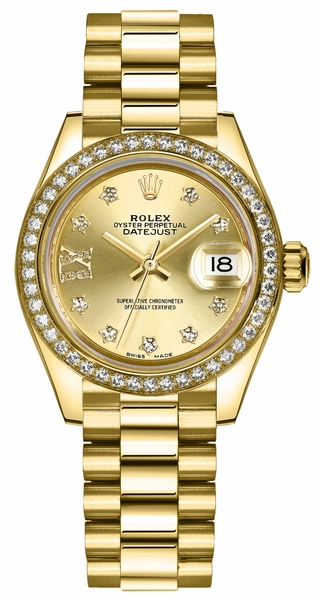 Rolex Lady-Datejust 28 Solid 18K Gold Watch 279138RBR