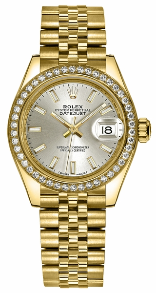 Rolex Lady-Datejust 28 Silver Dial Gold Watch 279138RBR