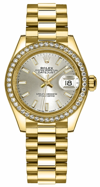 Rolex Lady-Datejust 28 Silver Dial Solid Gold Watch 279138RBR