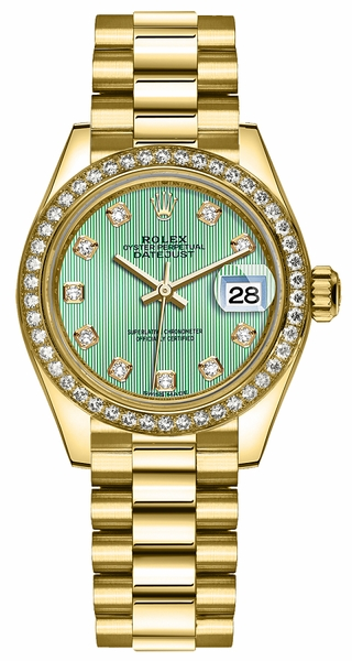 Rolex Lady-Datejust 28 Green Dial Gold Watch 279138RBR