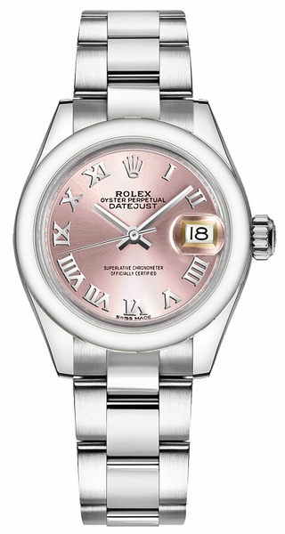 Rolex Lady-Datejust 28 Pink Roman Numeral Oyster Bracelet Watch 279160
