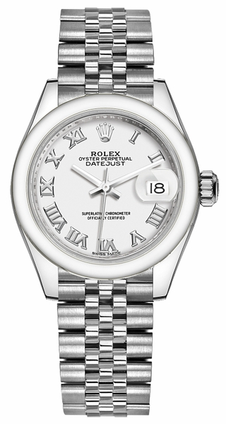 Rolex Lady-Datejust 28 White Roman Numeral Dial Watch 279160