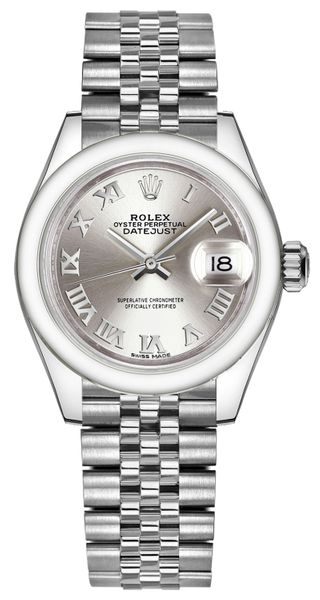 Rolex Lady-Datejust 28 Silver Roman Numeral Dial Watch 279160