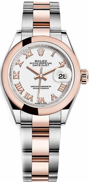 Rolex Lady-Datejust 28 White Roman Numeral Dial Watch 279161