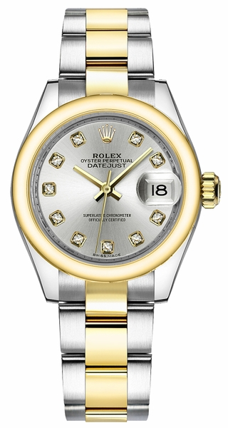 Rolex Lady-Datejust 28 Silver Diamond Oyster Bracelet Watch 279163