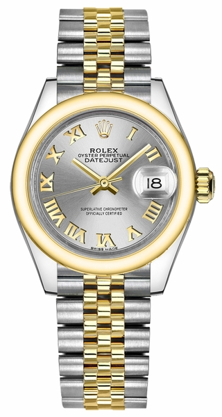Rolex Lady-Datejust 28 Silver Roman Numeral Dial Watch 279163