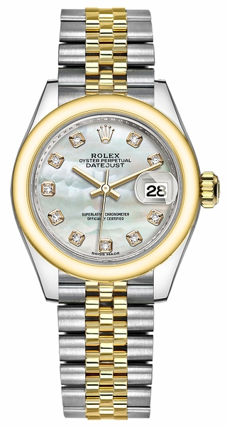 Rolex Lady-Datejust 28 Mother of Pearl Diamond Jubilee Bracelet Watch 279163