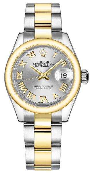 Rolex Lady-Datejust 28 Silver Roman Numeral Gold & Steel Watch 279163