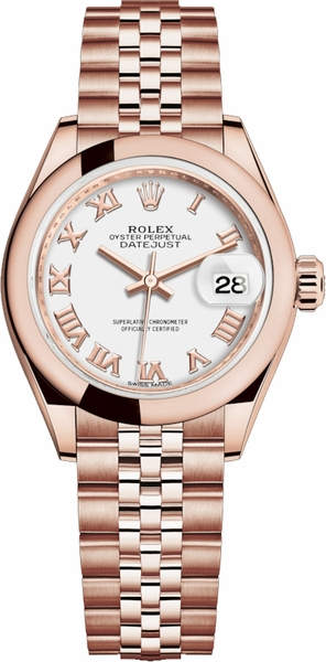 Rolex Lady-Datejust 28 White Roman Numeral Gold Watch 279165