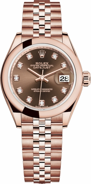 Rolex Lady-Datejust 28 Diamond Rose Gold Women's Watch 279165