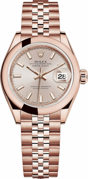 Rolex Lady-Datejust 28 Jubilee Bracelet Rose Gold Watch 279165
