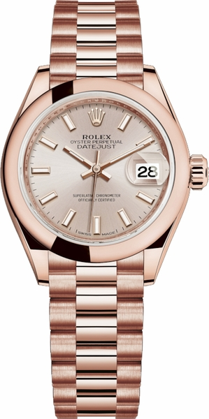 Rolex Lady-Datejust 28 Solid 18K Rose Gold Watch 279165