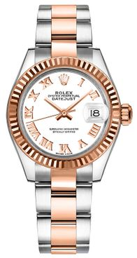 Rolex Lady-Datejust 28 White Roman Numeral Gold Watch 279171-0022