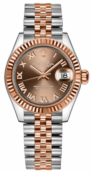 Rolex Lady-Datejust 28 Rose Gold Fluted Bezel Watch 279171