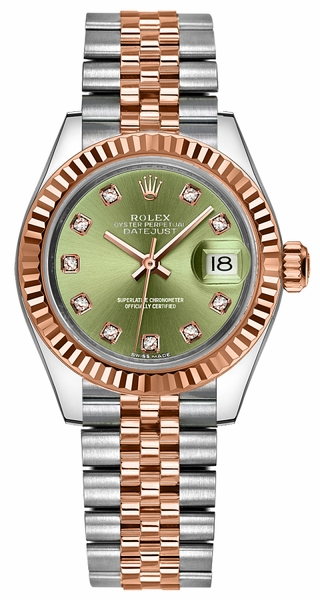 Rolex Lady-Datejust 28 Green Diamond Dial Gold & Steel Watch 279171