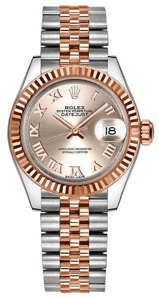 Rolex Lady-Datejust 28 Roman Numeral Dial Gold & Steel Watch 279171