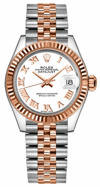 Rolex Lady-Datejust 28 White Roman Numeral Dial Watch 279171