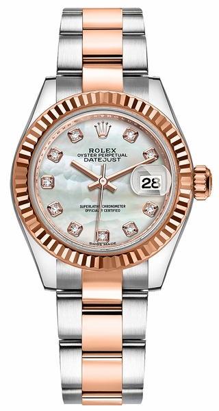 Rolex Lady-Datejust 28 Mother of Pearl Diamond Gold & Steel Watch 279171