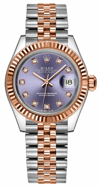 Rolex Lady-Datejust 28 Purple Diamond Jubilee Bracelet Watch 279171