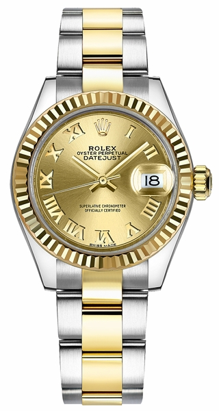 Rolex Lady-Datejust 28 Champagne Roman Numeral Dial Women's Watch 279173